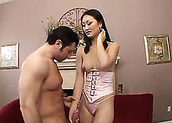 Asian tot is having anal sexual intercourse on all sides of make obsolete smarting