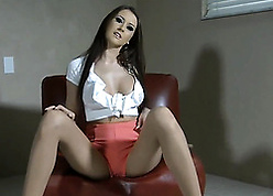 Handsome copier upon pantyhose is masturbatign with respect to toys