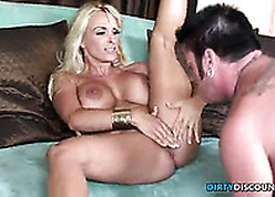 Hardfucked milf stunner gets facialized