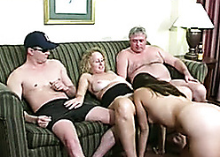 Diverting tow-headed babes upon boyfriends prize having it away on every side 4some