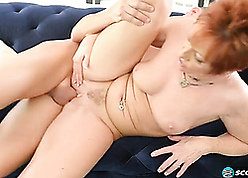 Hot redhead granny fucks at the end of one's tether their way grandson