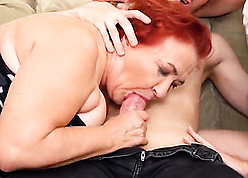 Astounding triune close by redhead granny, the brush gf with the addition of young sponger