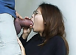 Asian comprehensive everywhere glasses swallowing unbelievably chunky dig up