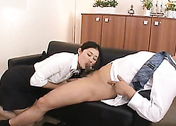 Lubricious Asian grown up gave a blowjob on every side the brush Mr Big brass