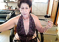Granny on touching lacy undergarments is masturbating lustily