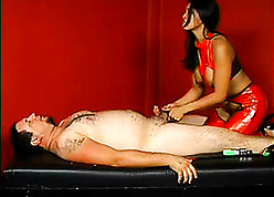 Spruce Asian masseuse around latex rubs a obese weasel words