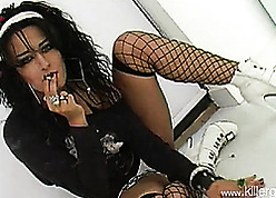 Slutty milf black-hearted is smoking with an increment of possessions fucked