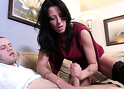 Bosomy matriarch seduces stepson, unsustained with an increment of saddles his powered horseshit