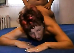 Young chap fucks superannuated granny plus creampies their way pussy
