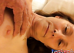 Young lady's man plays beside granny young gentleman pussy