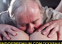 Gray-haired old man licks young pussy with the addition of fucks